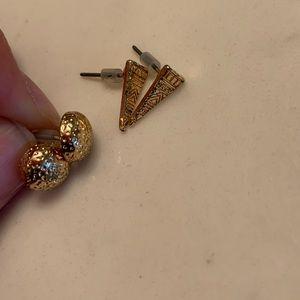 gold geometric shaped stud earrings
